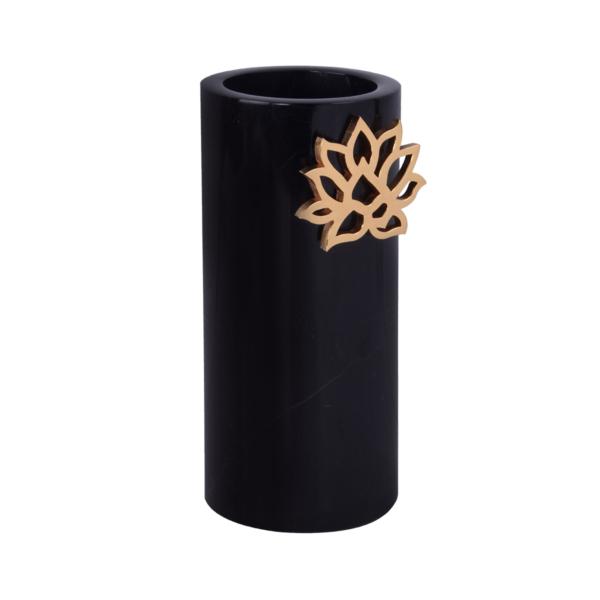 Lotus Mermer Vazo Siyah Profil