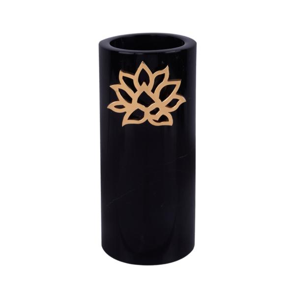 Lotus Mermer Vazo Siyah
