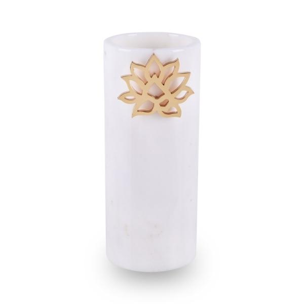 Lotus Mermer Vazo Beyaz