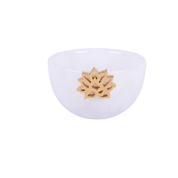 Lotus Beyaz Mermer Buyuk Kase