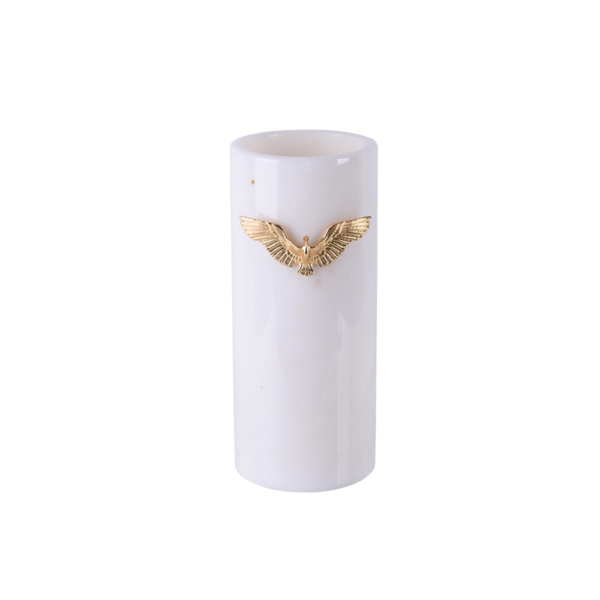 Zumrud-u Anka Beyaz Mermer Uzun Vazo
