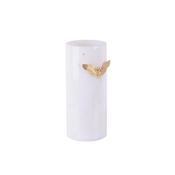 Zumrud-u Anka Beyaz Mermer Uzun Vazo Profil